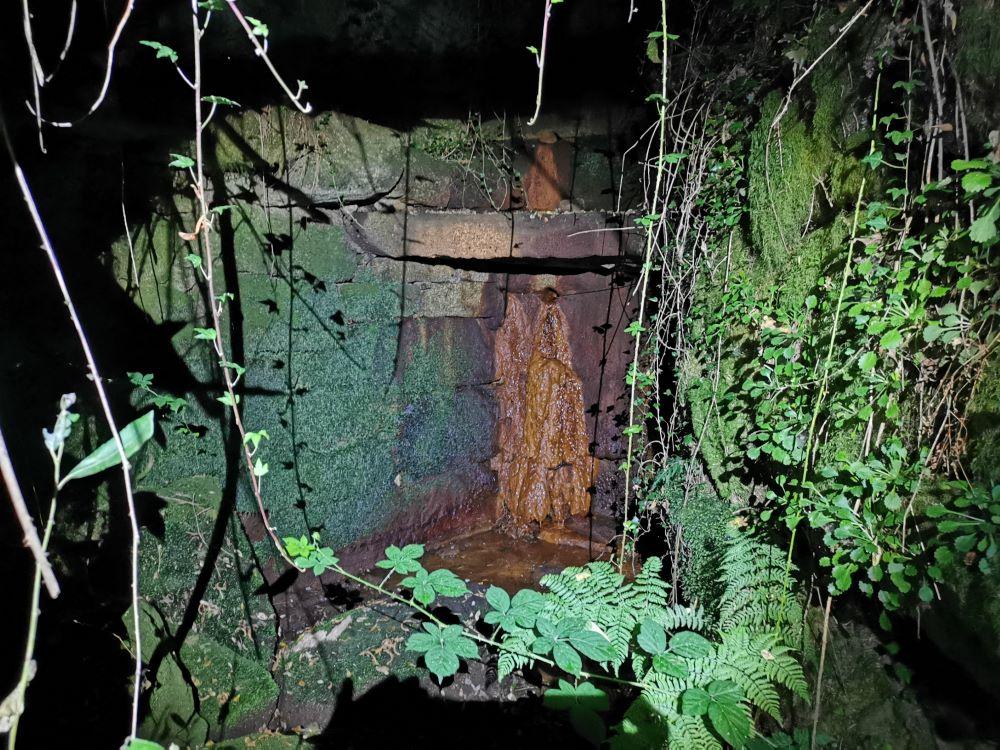 Tomada pola noite e en plena sequia.Observase a presencia dunha coloracion na pedra. ¿Será unha alga ou un mineral?